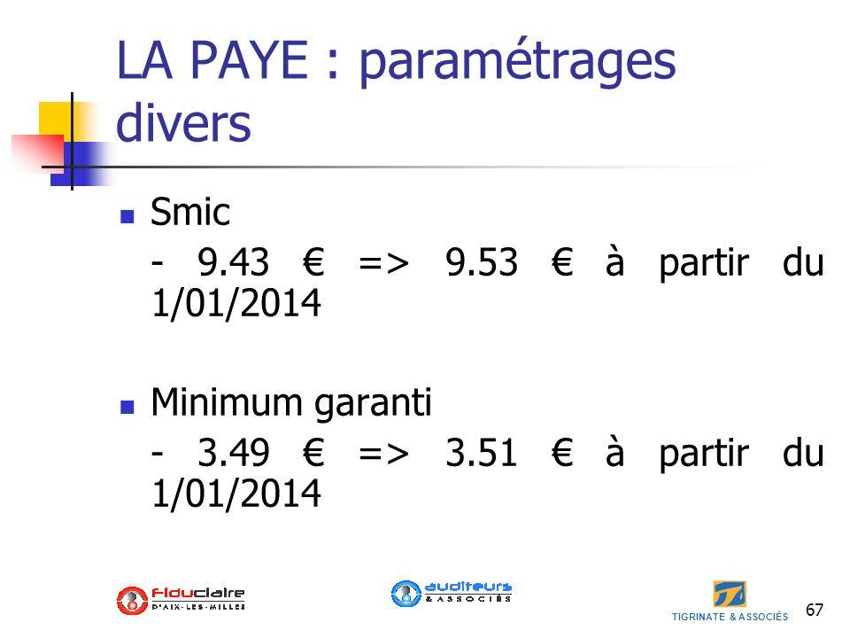 TIGRINATE & ASSOCIÉS LA PAYE : paramétrages divers Smic - 9.43 => 9.53 à partir du 1/01/2014 Minimum garanti - 3.49 => 3.51 à partir du 1/01/2014 67