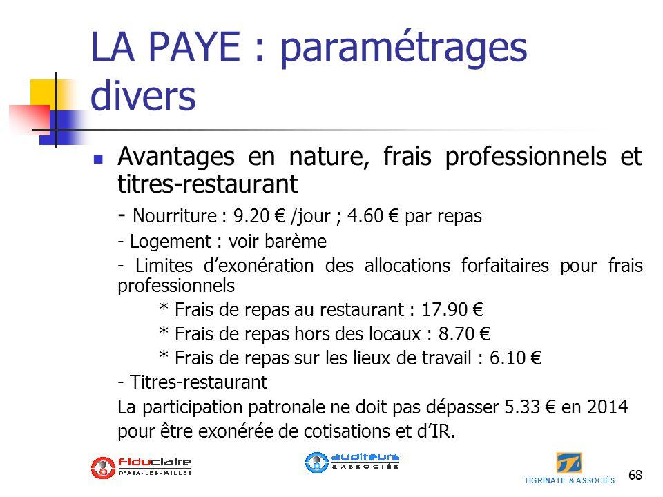 TIGRINATE & ASSOCIÉS LA PAYE : paramétrages divers Avantages en nature, frais professionnels et titres-restaurant - Nourriture : 9.20 /jour ; 4.60 par