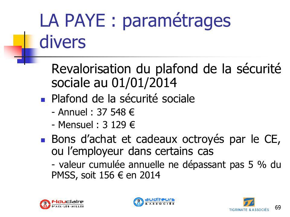 TIGRINATE & ASSOCIÉS LA PAYE : paramétrages divers Revalorisation du plafond de la sécurité sociale au 01/01/2014 Plafond de la sécurité sociale - Ann