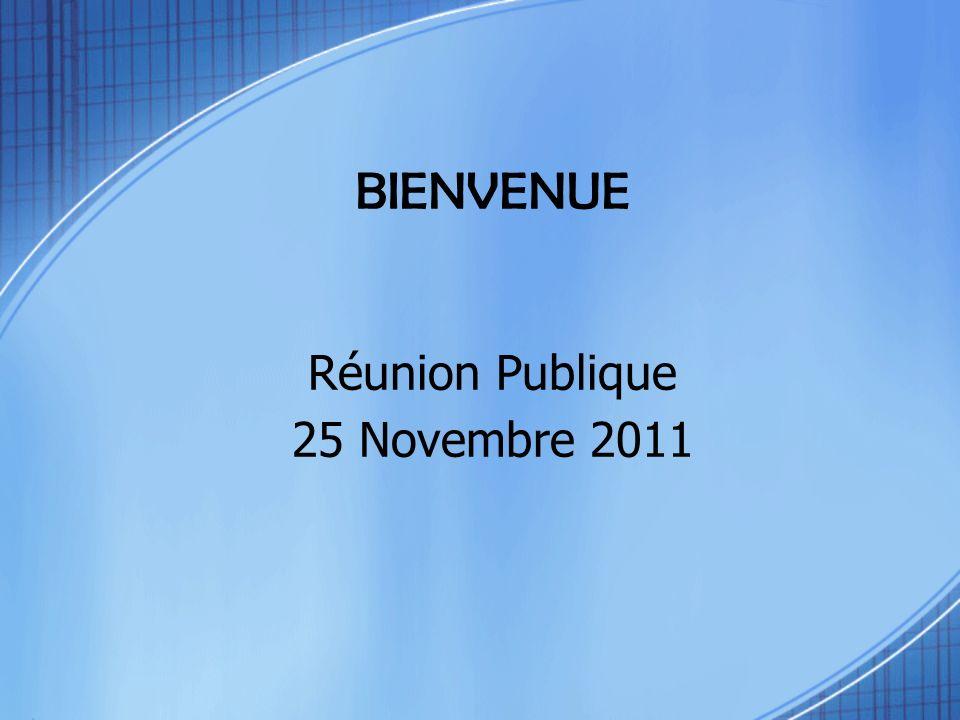 Réunion Publique 25 Novembre 2011 BIENVENUE