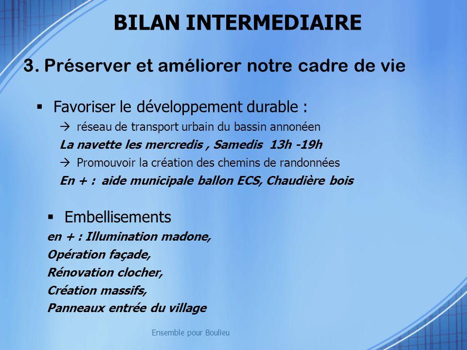 3. Préserver et améliorer notre cadre de vie Ensemble pour Boulieu BILAN INTERMEDIAIRE Favoriser le développement durable : réseau de transport urbain