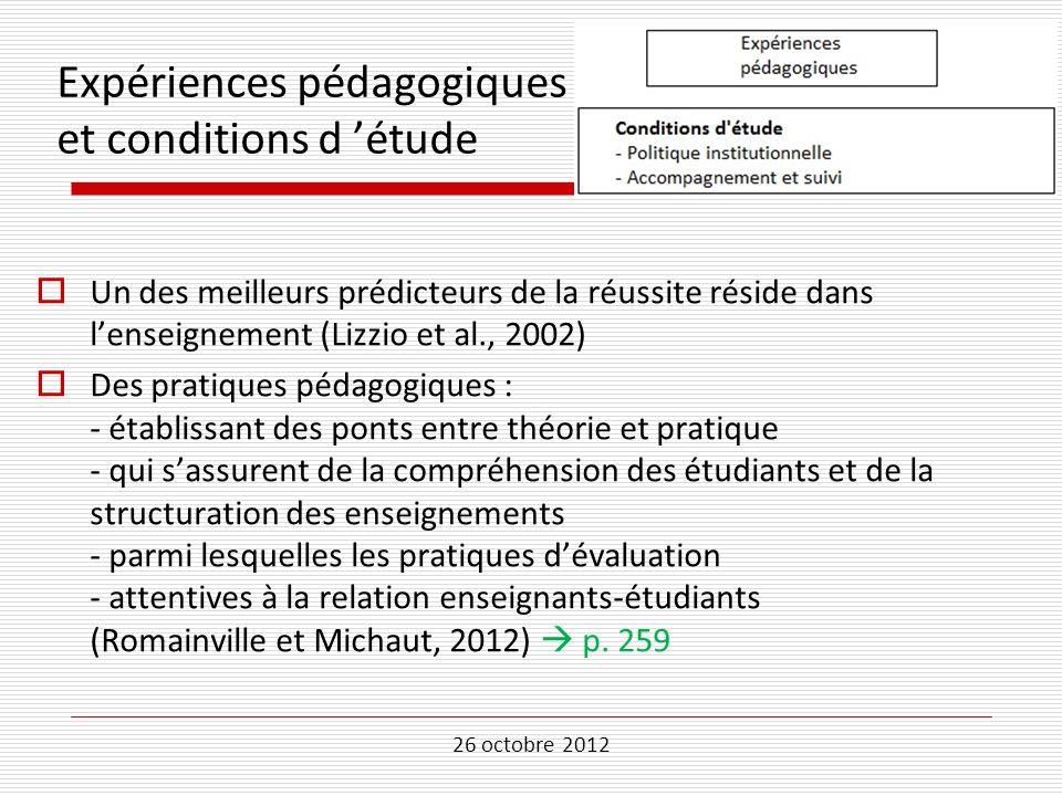 26 octobre 2012 Expériences pédagogiques et conditions d étude Un des meilleurs prédicteurs de la réussite réside dans lenseignement (Lizzio et al., 2