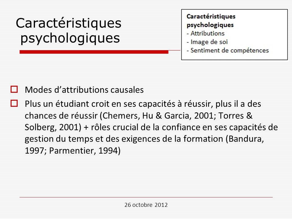 26 octobre 2012 Caractéristiques psychologiques Modes dattributions causales Plus un étudiant croit en ses capacités à réussir, plus il a des chances