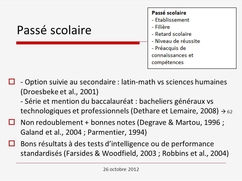 26 octobre 2012 Passé scolaire - Option suivie au secondaire : latin-math vs sciences humaines (Droesbeke et al., 2001) - Série et mention du baccalau