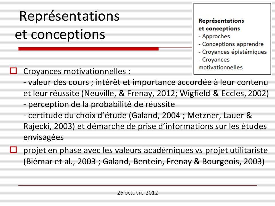 26 octobre 2012 Représentations et conceptions Croyances motivationnelles : - valeur des cours ; intérêt et importance accordée à leur contenu et leur