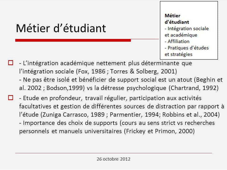 26 octobre 2012 Métier détudiant - Lintégration académique nettement plus déterminante que lintégration sociale (Fox, 1986 ; Torres & Solberg, 2001) -