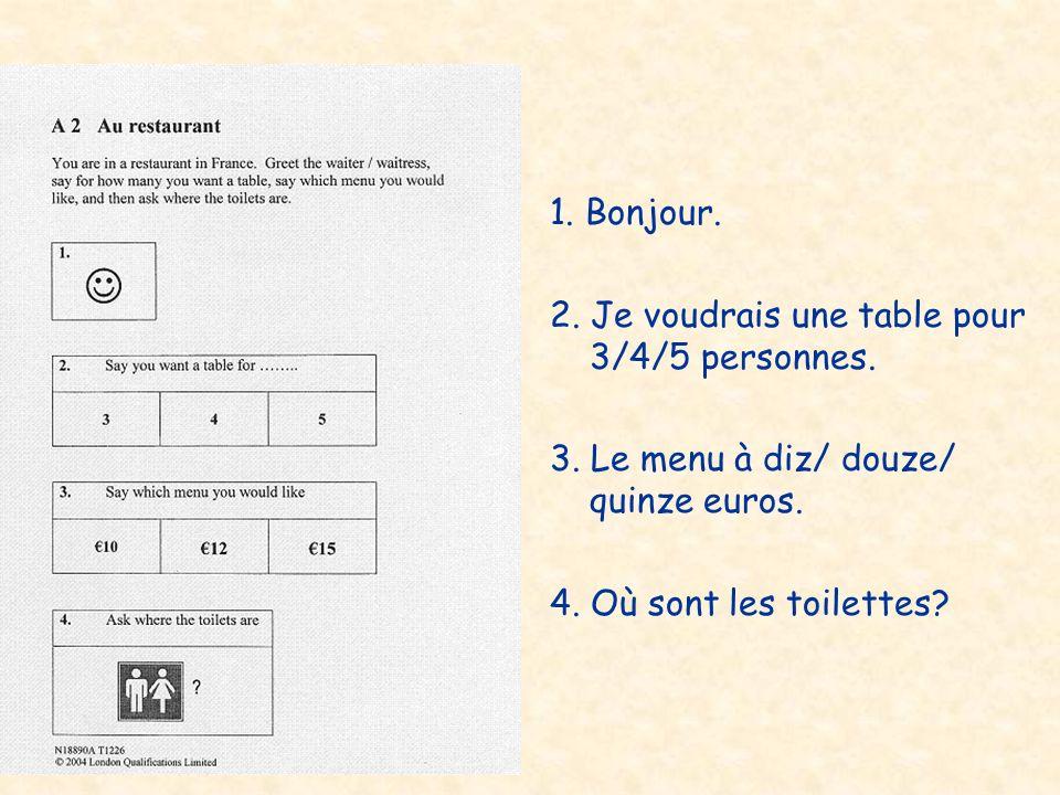1. Bonjour. 2. Je voudrais une table pour 3/4/5 personnes. 3. Le menu à diz/ douze/ quinze euros. 4. Où sont les toilettes?