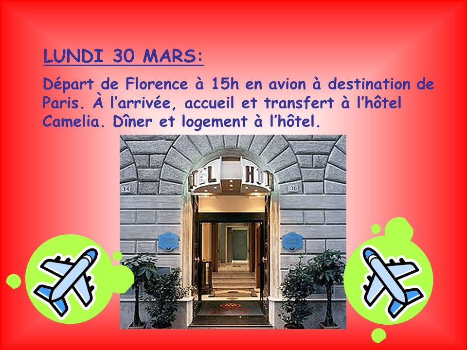Départ de Florence à 15h en avion à destination de Paris.