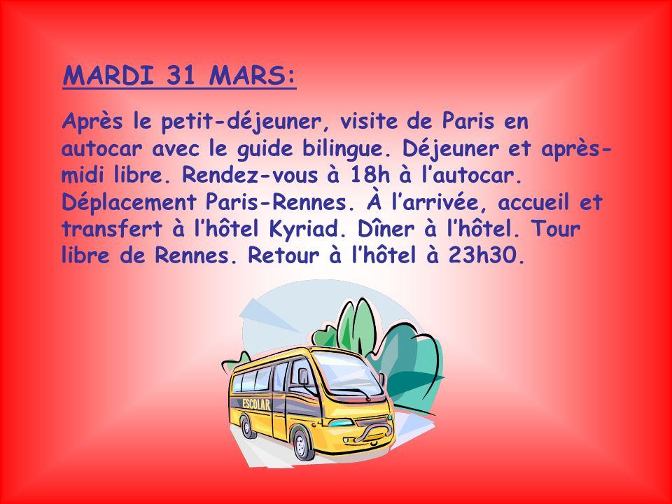 Après le petit-déjeuner, visite de Paris en autocar avec le guide bilingue.