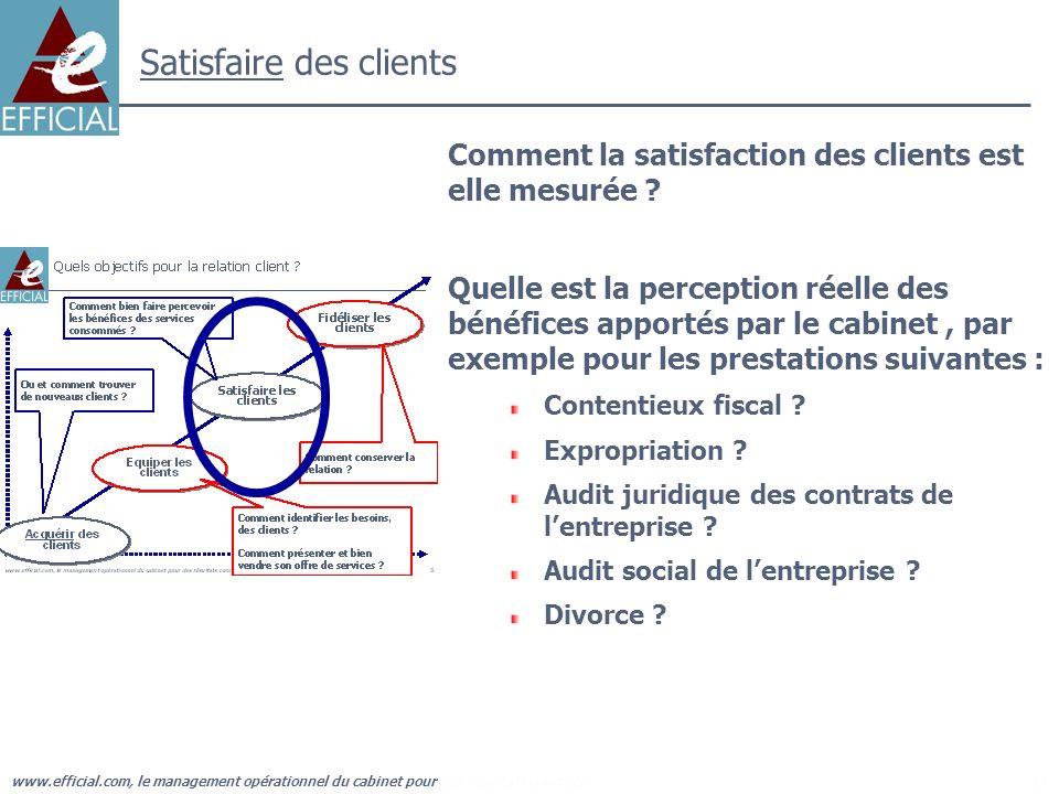 www.efficial.com, le management opérationnel du cabinet pour des résultats concrets17 Satisfaire des clients Comment la satisfaction des clients est e