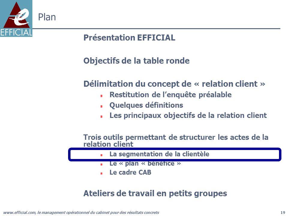 www.efficial.com, le management opérationnel du cabinet pour des résultats concrets19 Plan Présentation EFFICIAL Objectifs de la table ronde Délimitat