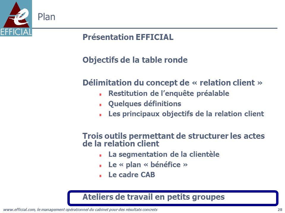 www.efficial.com, le management opérationnel du cabinet pour des résultats concrets28 Plan Présentation EFFICIAL Objectifs de la table ronde Délimitat