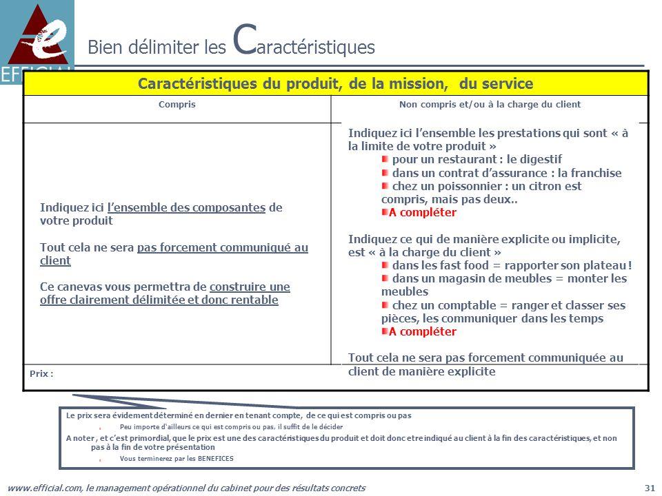 www.efficial.com, le management opérationnel du cabinet pour des résultats concrets31 Le prix sera évidement déterminé en dernier en tenant compte, de