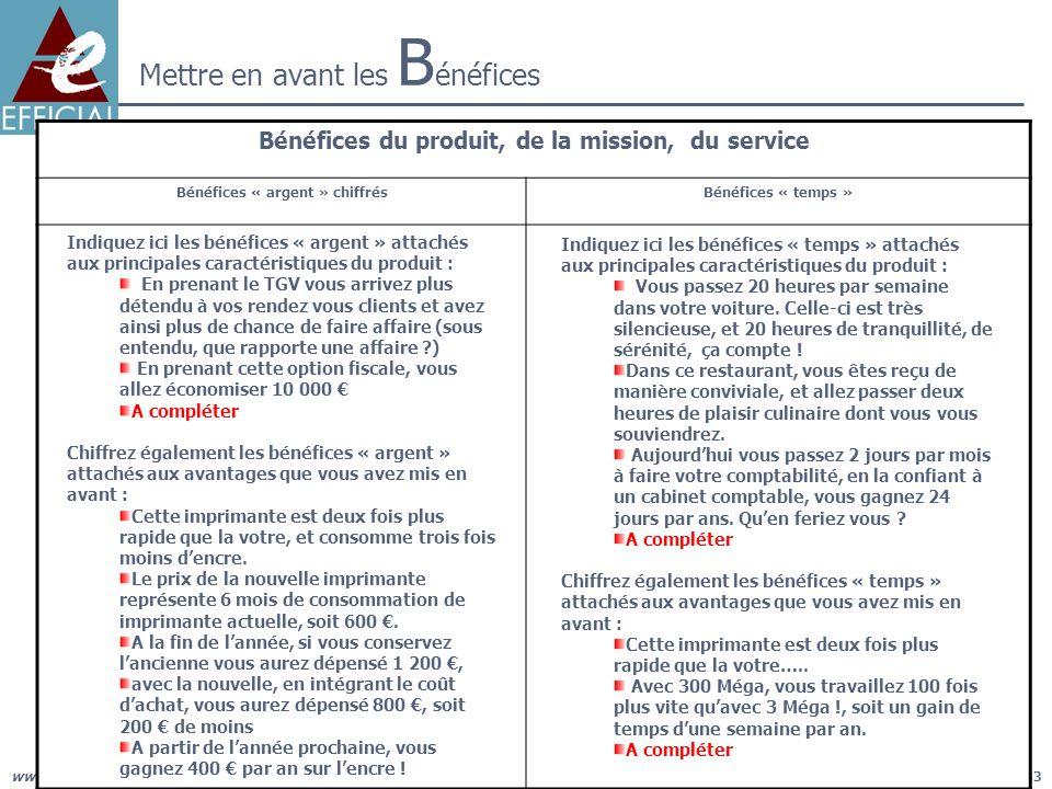 www.efficial.com, le management opérationnel du cabinet pour des résultats concrets33 Mettre en avant les B énéfices Bénéfices du produit, de la missi