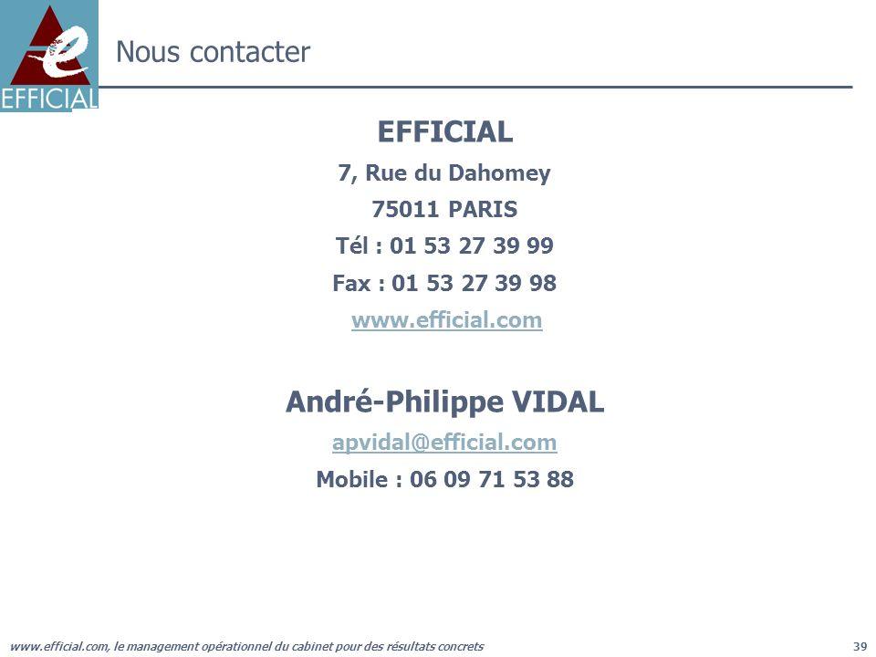 www.efficial.com, le management opérationnel du cabinet pour des résultats concrets39 Nous contacter EFFICIAL 7, Rue du Dahomey 75011 PARIS Tél : 01 5