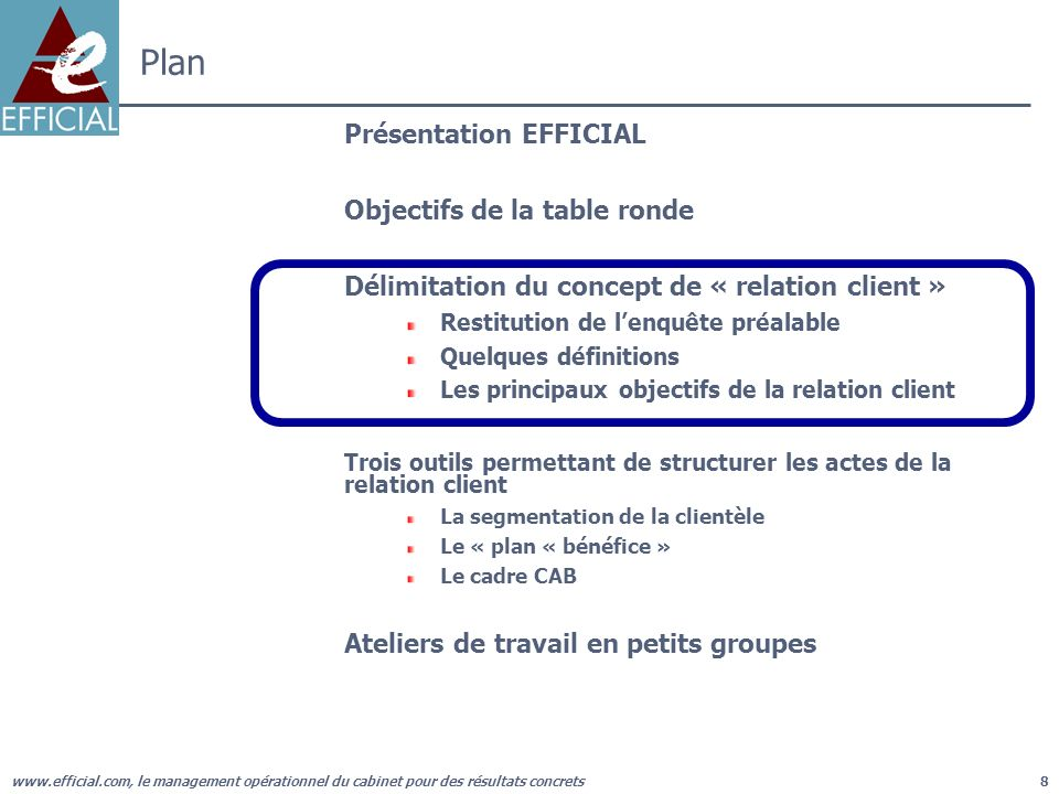www.efficial.com, le management opérationnel du cabinet pour des résultats concrets8 Plan Présentation EFFICIAL Objectifs de la table ronde Délimitati