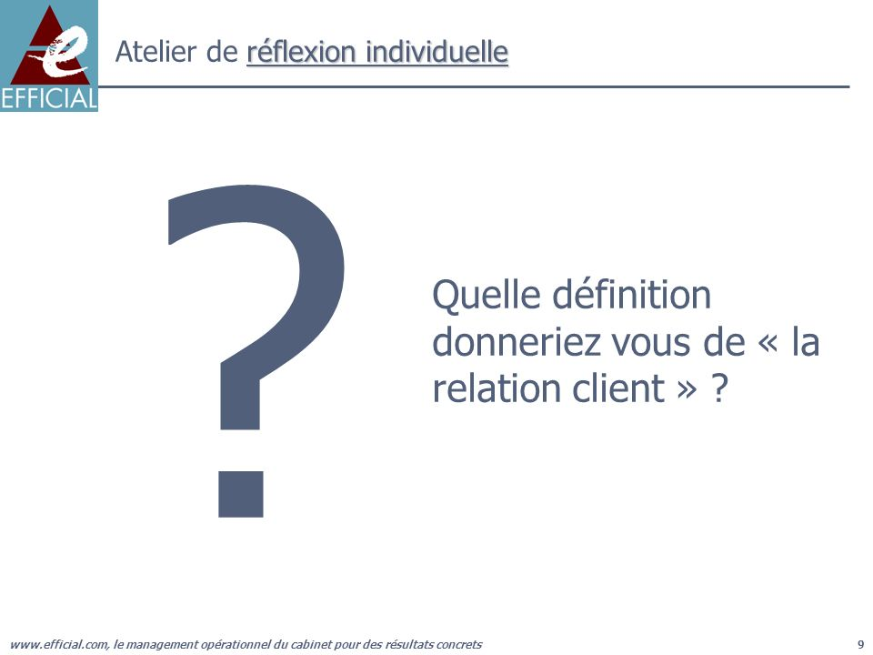 www.efficial.com, le management opérationnel du cabinet pour des résultats concrets30 Réponses à la question : « Si vous deviez décrire votre cabinet en trois lignes, dans une publication à destination de vos clients, quécririez vous .