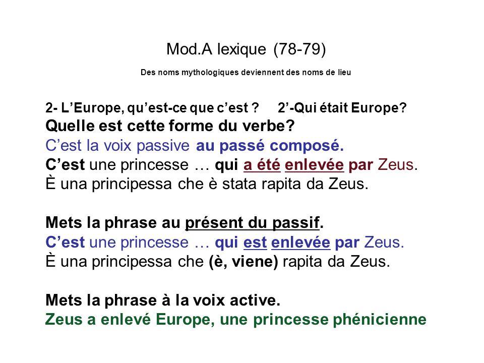 Mod.A lexique (78-79) Des noms mythologiques deviennent des noms de lieu 2- LEurope, quest-ce que cest ? 2-Qui était Europe? Quelle est cette forme du