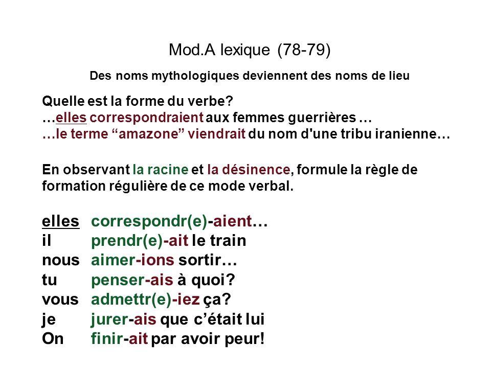 Mod.A lexique (78-79) Des noms mythologiques deviennent des noms de lieu Quelle est la forme du verbe? …elles correspondraient aux femmes guerrières …