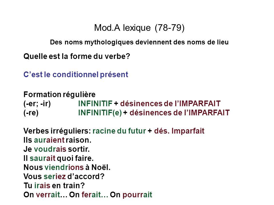 Mod.A lexique (78-79) Des noms mythologiques deviennent des noms de lieu Quelle est la forme du verbe? Cest le conditionnel présent Formation régulièr
