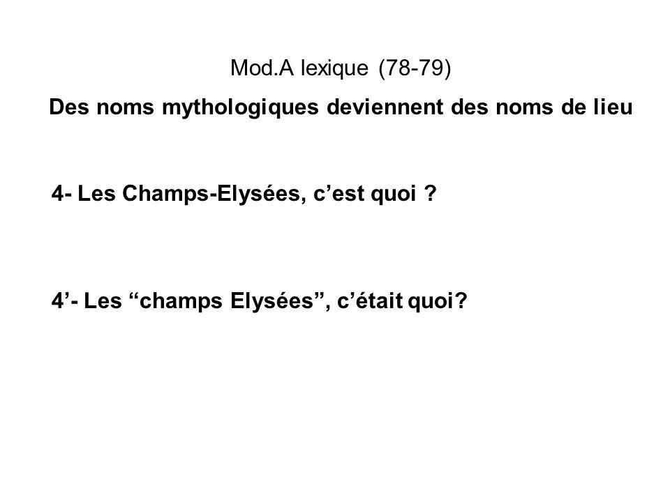 Mod.A lexique (78-79) Des noms mythologiques deviennent des noms de lieu 4- Les Champs-Elysées, cest quoi ? 4- Les champs Elysées, cétait quoi?