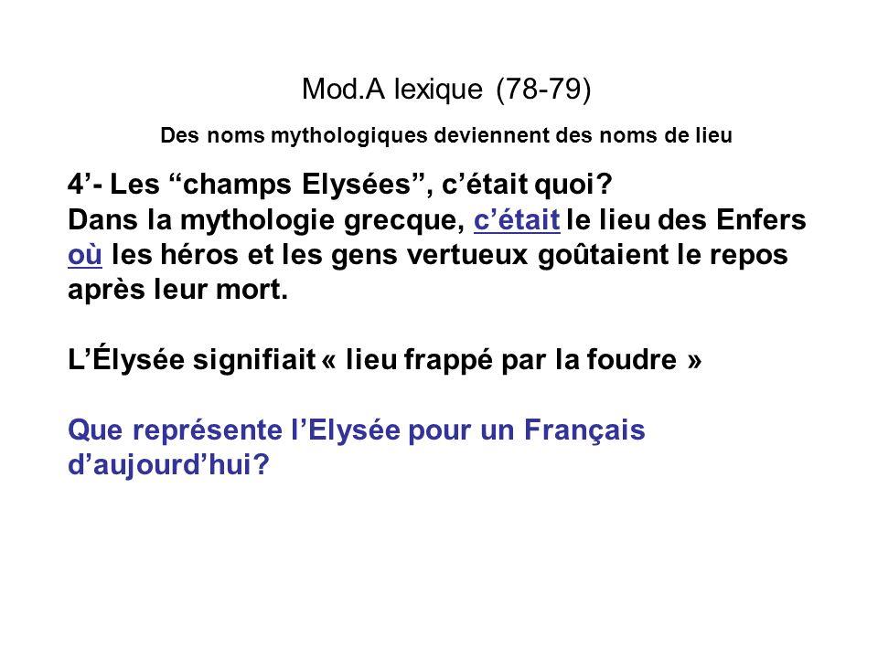 Mod.A lexique (78-79) Des noms mythologiques deviennent des noms de lieu 4- Les champs Elysées, cétait quoi? Dans la mythologie grecque, cétait le lie