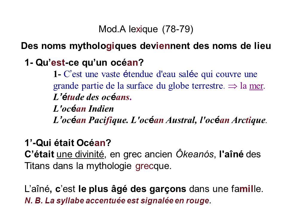 Mod.A lexique (78-79) Des noms mythologiques deviennent des noms de lieu 1- Quest-ce quun océan? 1- C est une vaste é tendue d'eau sal é e qui couvre
