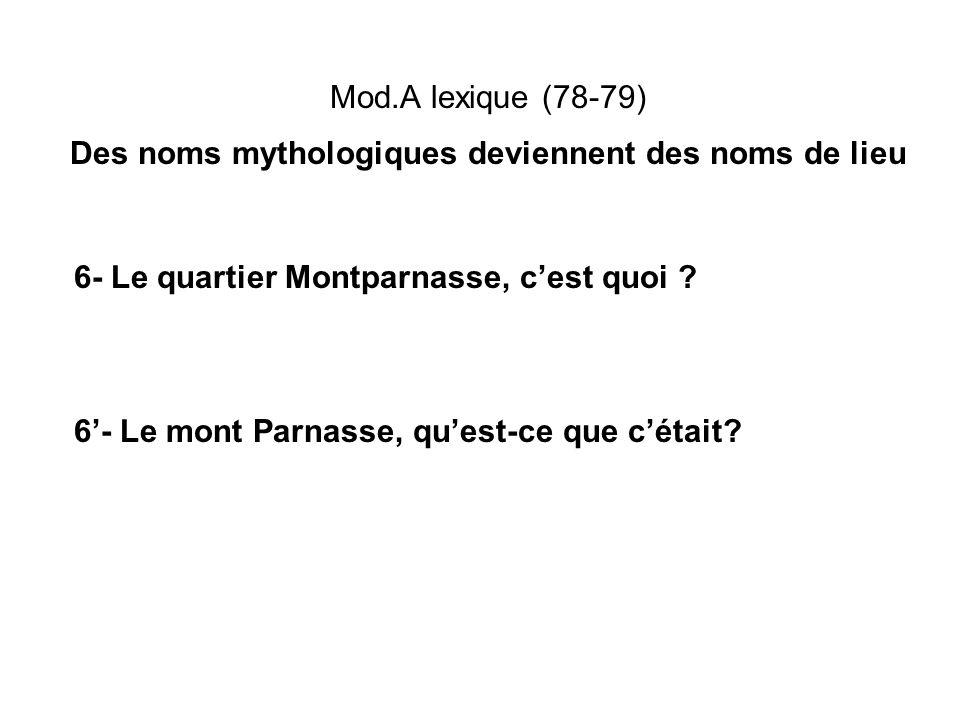 Mod.A lexique (78-79) Des noms mythologiques deviennent des noms de lieu 6- Le quartier Montparnasse, cest quoi ? 6- Le mont Parnasse, quest-ce que cé