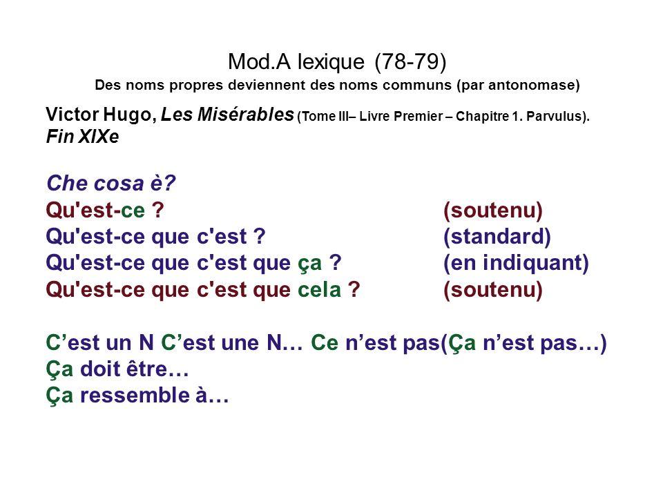 Mod.A lexique (78-79) Des noms propres deviennent des noms communs (par antonomase) Victor Hugo, Les Misérables (Tome III– Livre Premier – Chapitre 1.