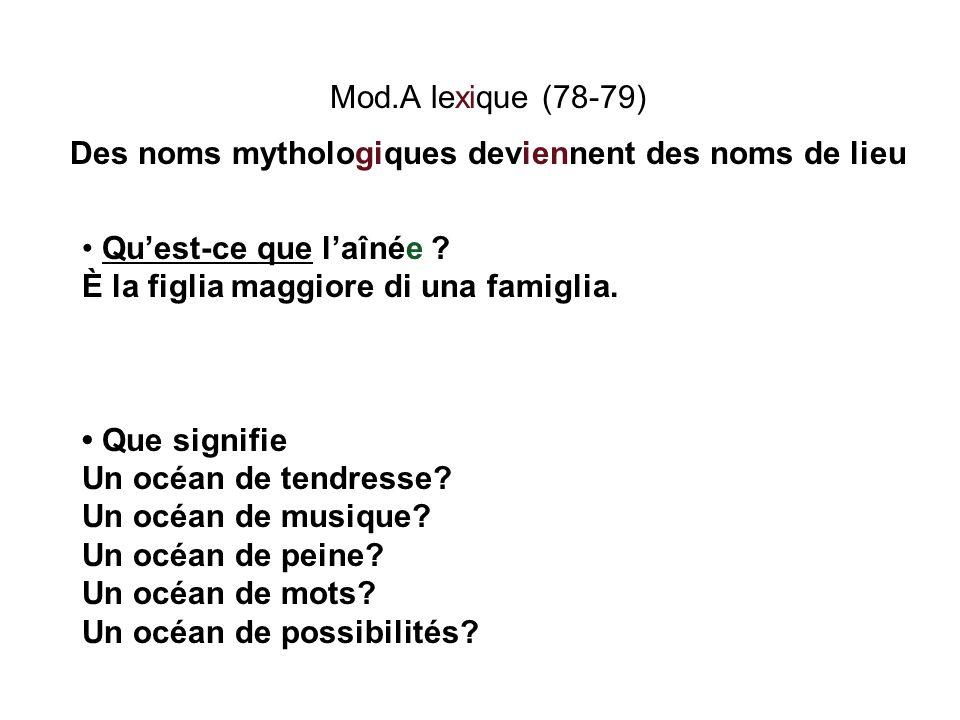 Mod.A lexique (78-79) Des noms mythologiques deviennent des noms de lieu Quest-ce que laînée ? È la figlia maggiore di una famiglia. Que signifie Un o