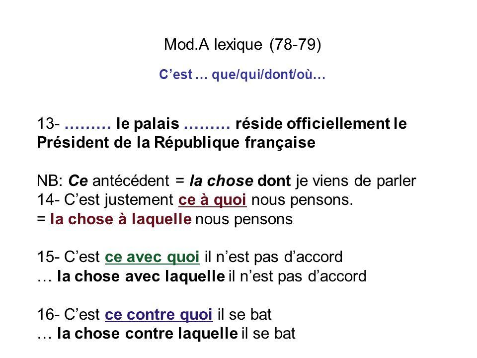 Mod.A lexique (78-79) 13- ……… le palais ……… réside officiellement le Président de la République française NB: Ce antécédent = la chose dont je viens d