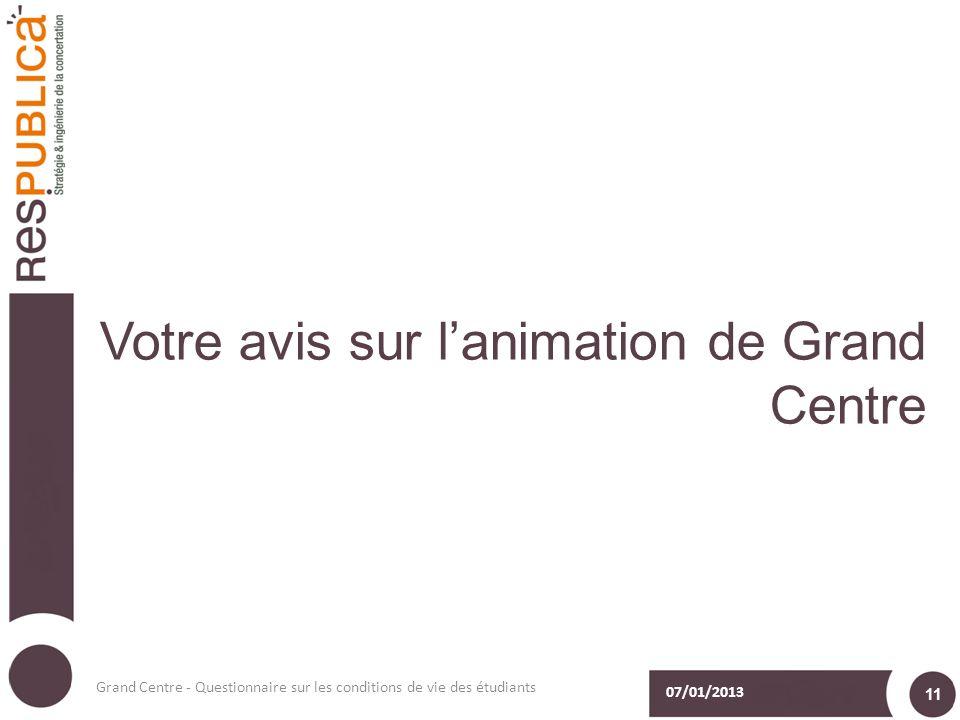 Votre avis sur lanimation de Grand Centre 07/01/2013 Grand Centre - Questionnaire sur les conditions de vie des étudiants 11