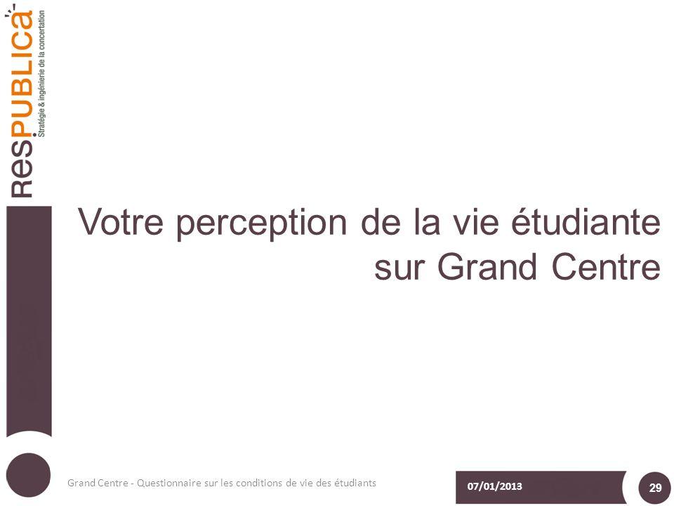 Votre perception de la vie étudiante sur Grand Centre 07/01/2013 Grand Centre - Questionnaire sur les conditions de vie des étudiants 29
