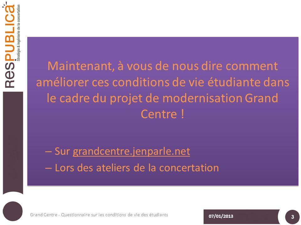Maintenant, à vous de nous dire comment améliorer ces conditions de vie étudiante dans le cadre du projet de modernisation Grand Centre .