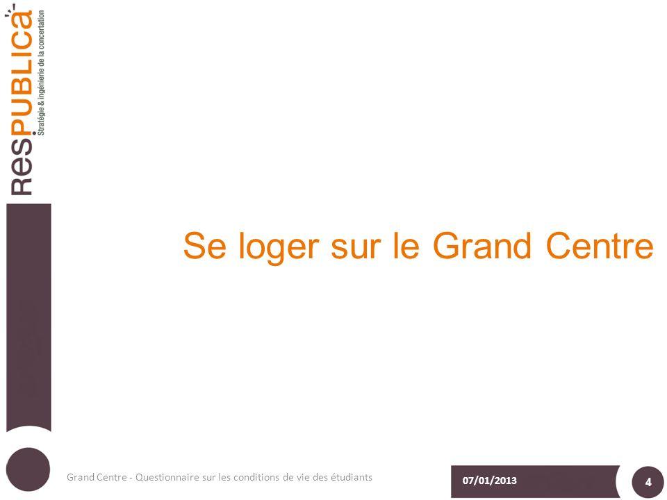 Se loger sur le Grand Centre 07/01/2013 Grand Centre - Questionnaire sur les conditions de vie des étudiants 4