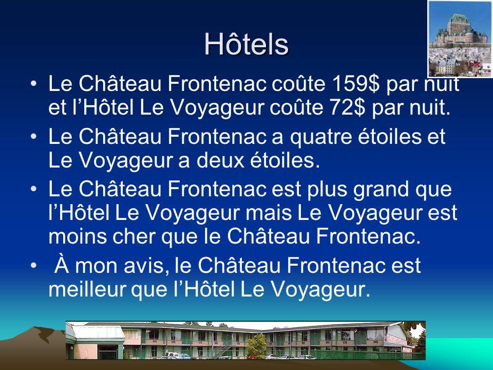 Hôtels Le Château Frontenac coûte 159$ par nuit et lHôtel Le Voyageur coûte 72$ par nuit. Le Château Frontenac a quatre étoiles et Le Voyageur a deux