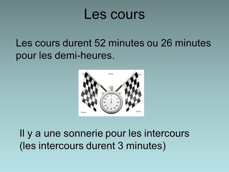 Les cours Les cours durent 52 minutes ou 26 minutes pour les demi-heures. Il y a une sonnerie pour les intercours (les intercours durent 3 minutes)