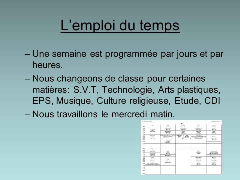 Lemploi du temps –Une semaine est programmée par jours et par heures. –Nous changeons de classe pour certaines matières: S.V.T, Technologie, Arts plas