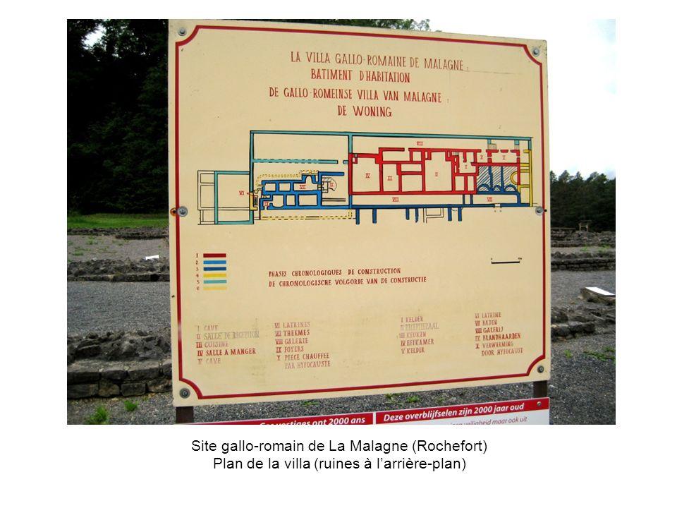 Site gallo-romain de La Malagne (Rochefort) Plan de la villa (ruines à larrière-plan)
