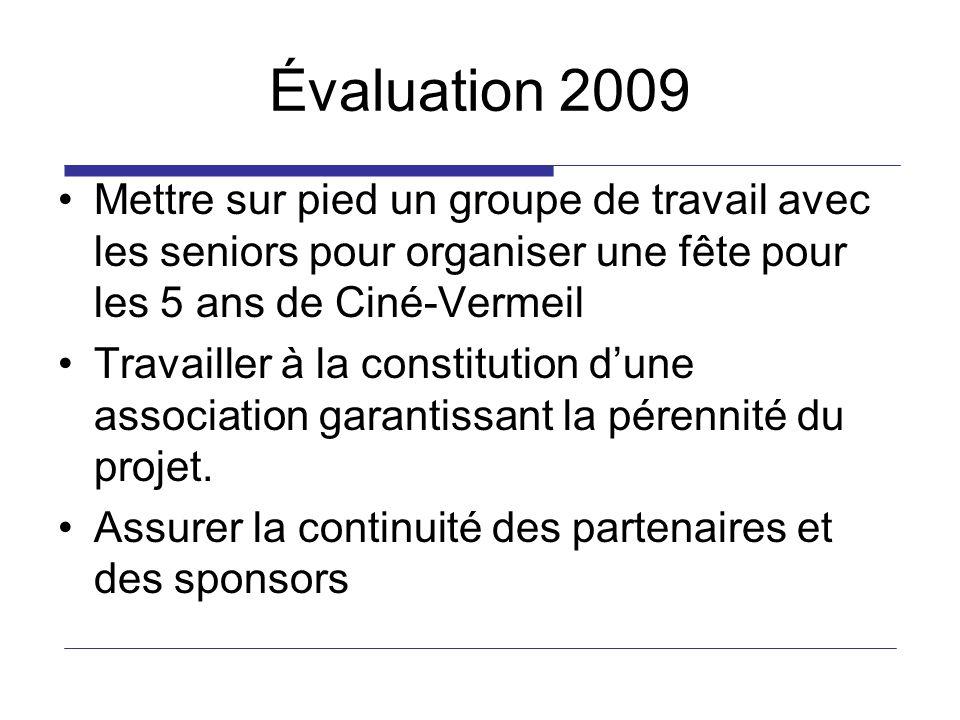 Évaluation 2009 Mettre sur pied un groupe de travail avec les seniors pour organiser une fête pour les 5 ans de Ciné-Vermeil Travailler à la constitution dune association garantissant la pérennité du projet.