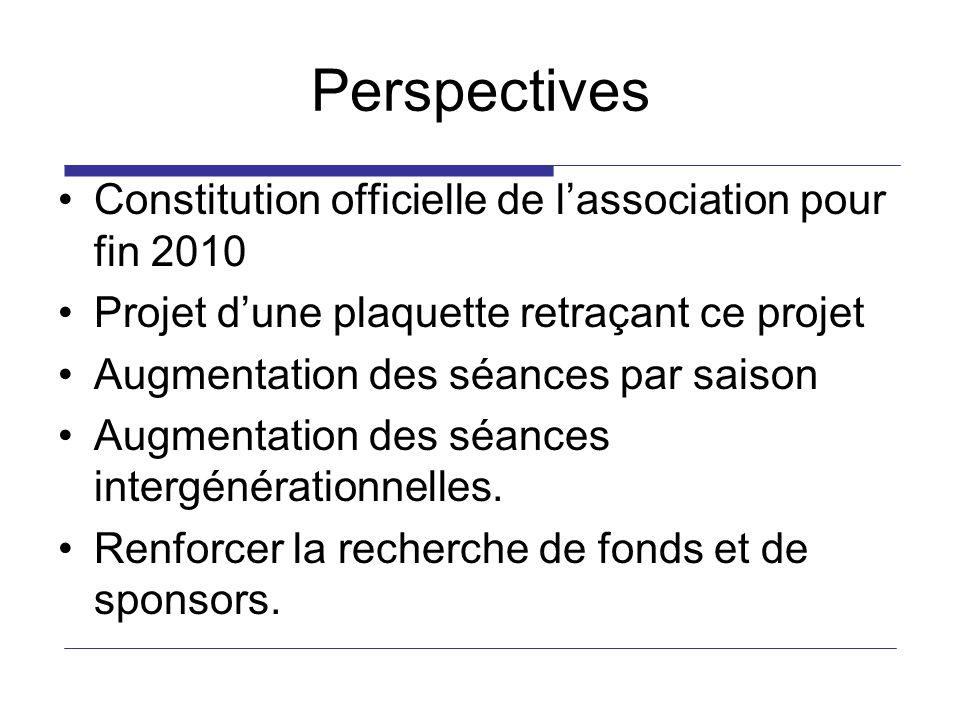 Perspectives Constitution officielle de lassociation pour fin 2010 Projet dune plaquette retraçant ce projet Augmentation des séances par saison Augme