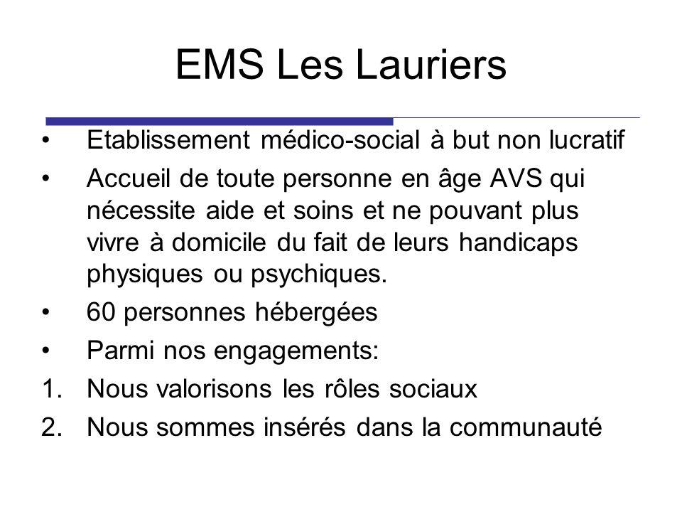 EMS Les Lauriers Etablissement médico-social à but non lucratif Accueil de toute personne en âge AVS qui nécessite aide et soins et ne pouvant plus vivre à domicile du fait de leurs handicaps physiques ou psychiques.