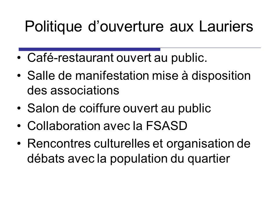 Politique douverture aux Lauriers Café-restaurant ouvert au public. Salle de manifestation mise à disposition des associations Salon de coiffure ouver