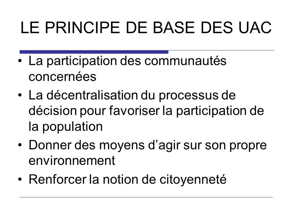 LE PRINCIPE DE BASE DES UAC La participation des communautés concernées La décentralisation du processus de décision pour favoriser la participation d