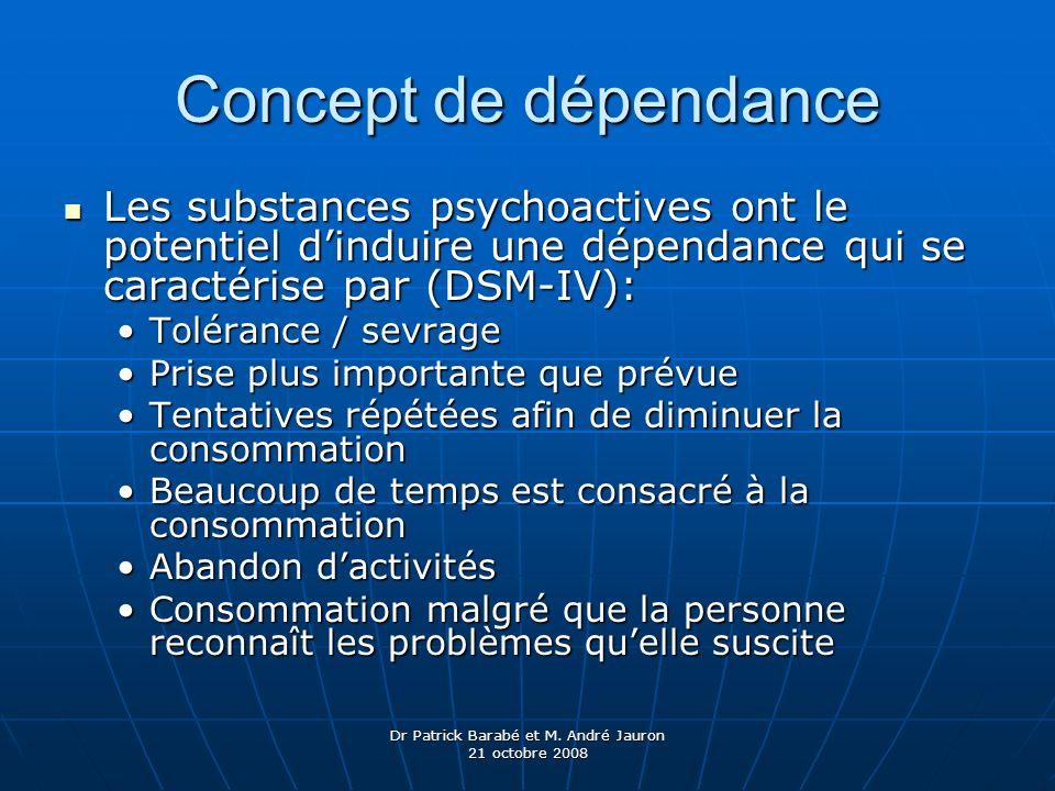 Dr Patrick Barabé et M. André Jauron 21 octobre 2008 Concept de dépendance Les substances psychoactives ont le potentiel dinduire une dépendance qui s