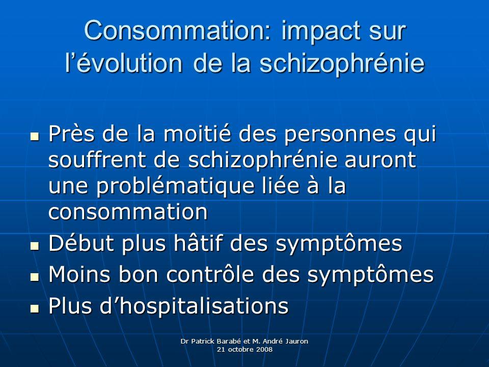 Dr Patrick Barabé et M. André Jauron 21 octobre 2008 Consommation: impact sur lévolution de la schizophrénie Près de la moitié des personnes qui souff