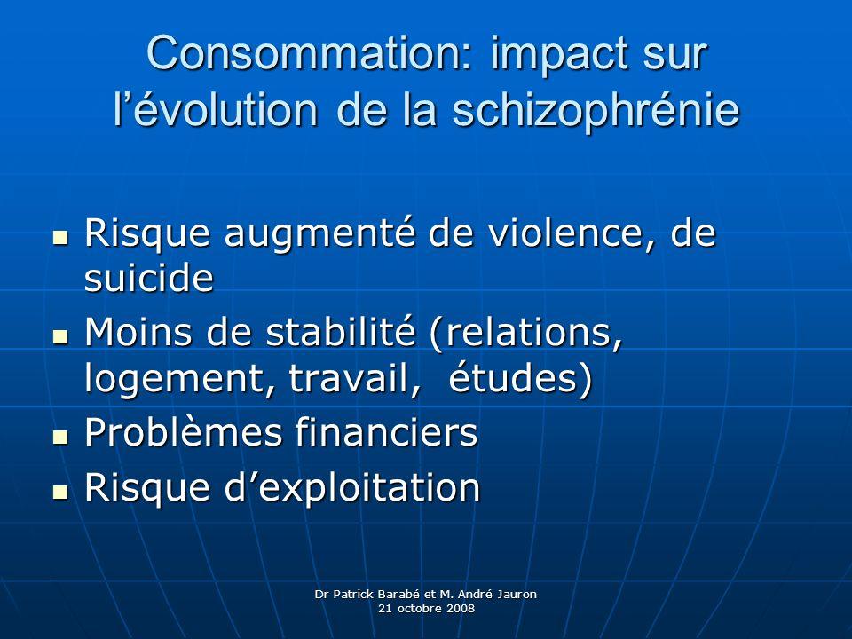 Dr Patrick Barabé et M. André Jauron 21 octobre 2008 Consommation: impact sur lévolution de la schizophrénie Risque augmenté de violence, de suicide R