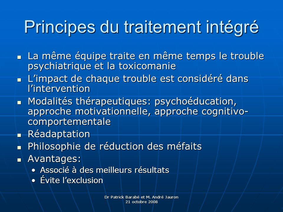 Dr Patrick Barabé et M. André Jauron 21 octobre 2008 Principes du traitement intégré La même équipe traite en même temps le trouble psychiatrique et l