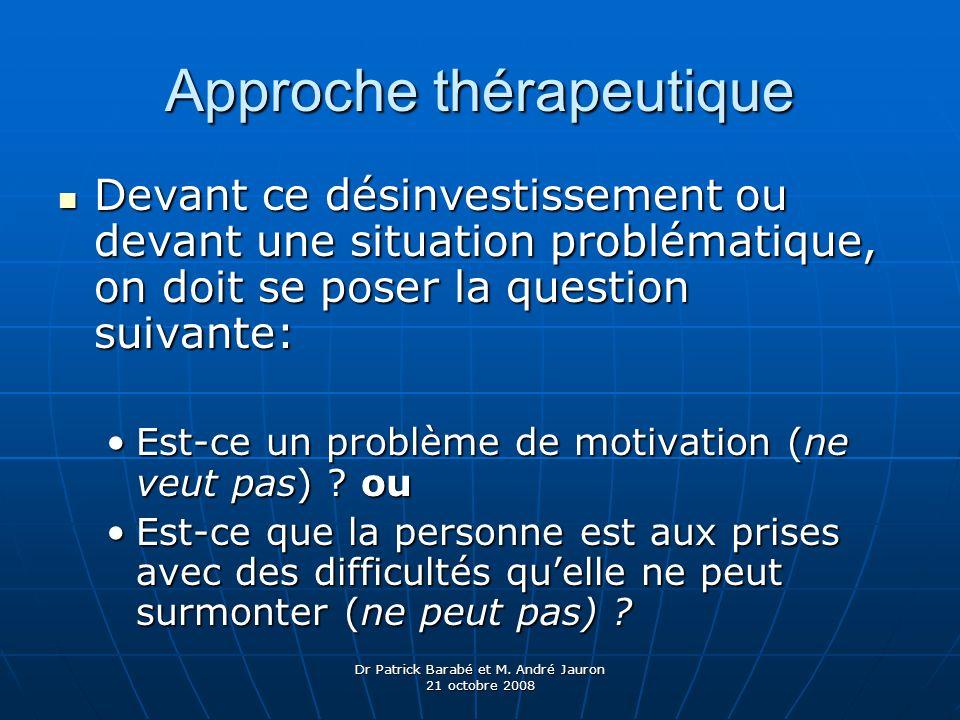 Dr Patrick Barabé et M. André Jauron 21 octobre 2008 Approche thérapeutique Devant ce désinvestissement ou devant une situation problématique, on doit