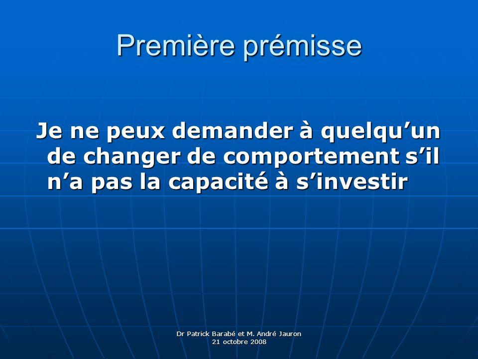 Dr Patrick Barabé et M. André Jauron 21 octobre 2008 Première prémisse Je ne peux demander à quelquun de changer de comportement sil na pas la capacit